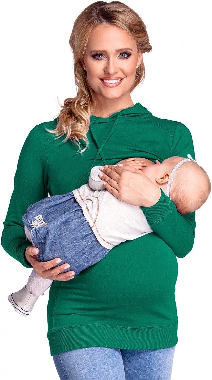 Happy Mama Damen Kapuzenpullover Stillzeit Top Zweilagiges Sweatshirt 272p