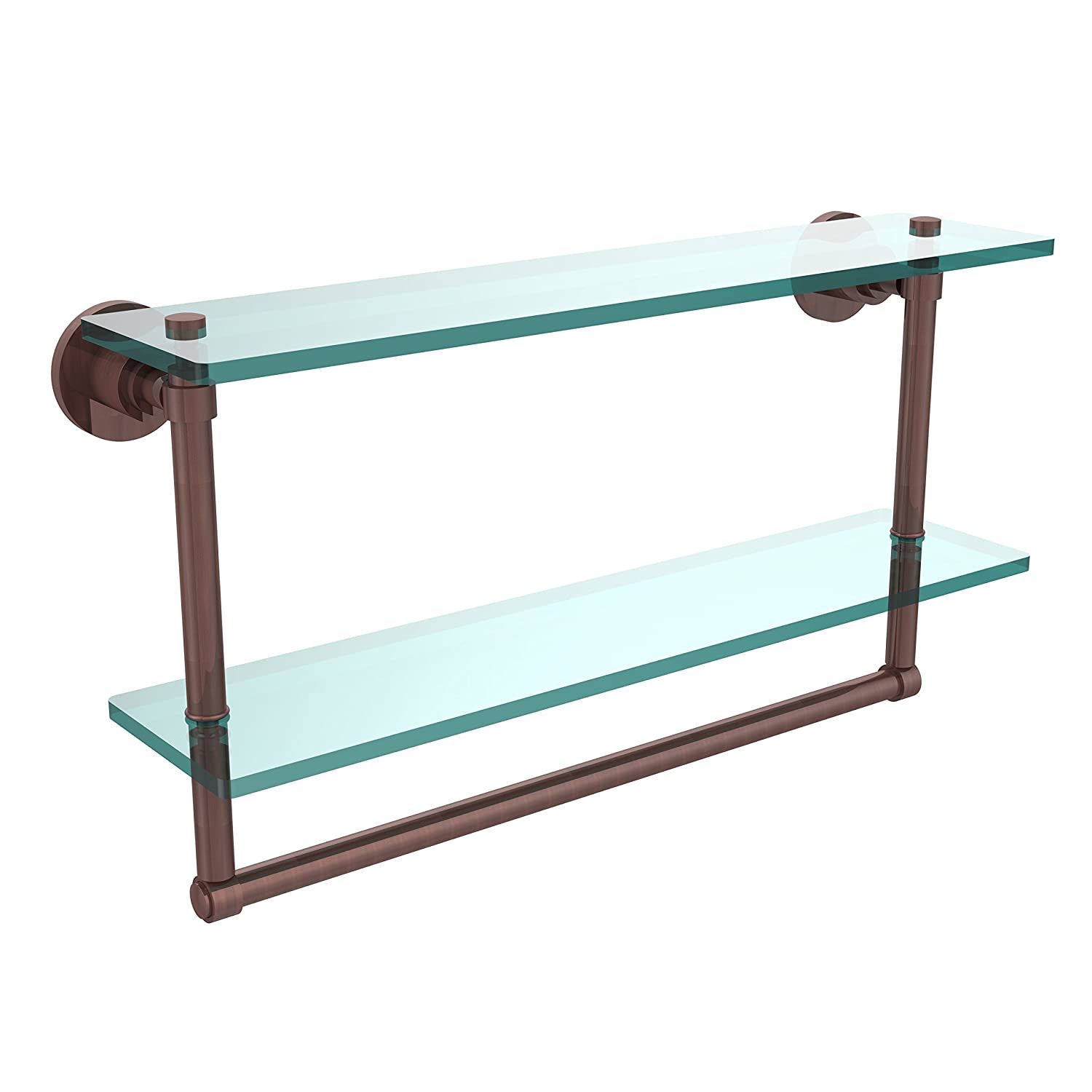 Allied Brass WS-2TB//22-CA Washington Square Collection 22 Inch Two Tiered Glass Shelf with Integrated Towel Bar Antique Copper