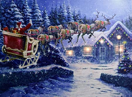 Christmas Led Canvas.Santa And Sleigh Led Light Up Printed Christmas Canvas Picture 40cm X 30cm