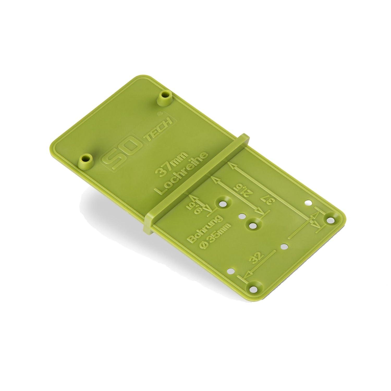 32er Lochreihen und Exzenter Verbindungsbeschl/äge SO-TECH/® Bohrlehre EasyGreen Bohrschablone f/ür Topfbohrung /Ø 26 und 35 mm