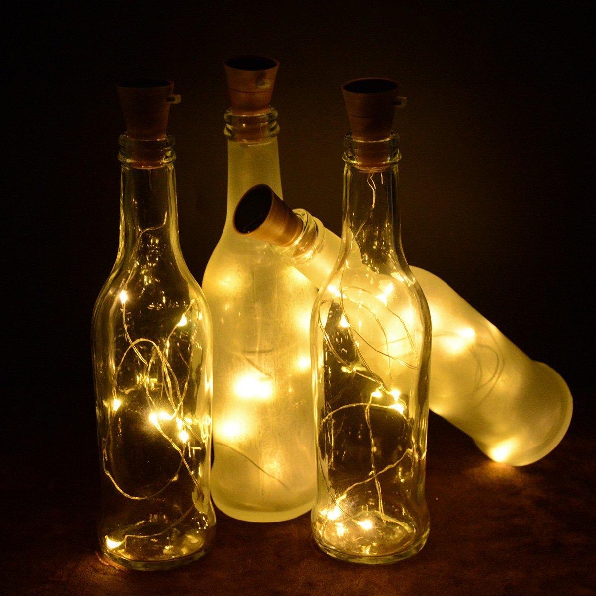 Okapia 6 Sets Cork Light for Wine Bottle Solar Fairy Lights for Wedding Home Bedroom Party Jar Decoration Warm White