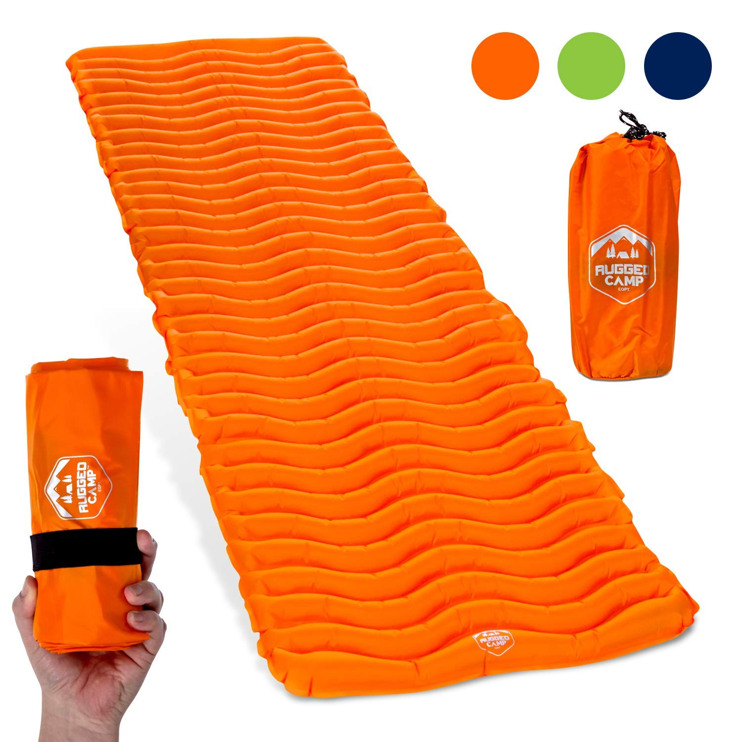 Camping Sleeping Pad - Ultralight 17.2 OZ - Best Inflatable Sleeping Air Mattress for Backpacking, Hiking, Traveling - Lightweight & Compact Camp Sleep Pad (Air Mat+ Orange) by Rugged Camp