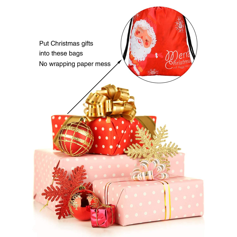 Amazon.com: Gejoy 6 Pieces Christmas Drawstring Gift Bags Santa ...
