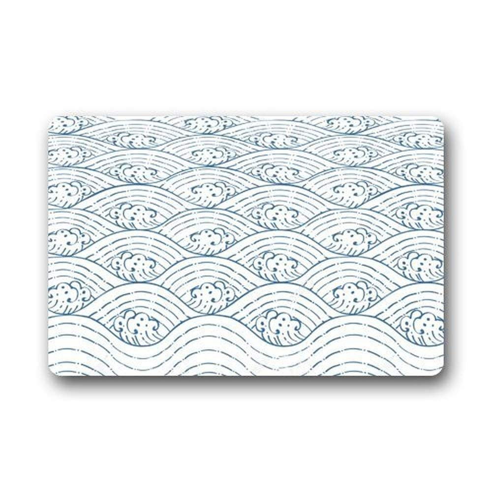 Advancey 18''x30'' Sea Wave Pattern Doormat Water Absorbent Non-slip Entrance Shoes Scraper Rug Indoor Kitchen Dining Living Hallway Bathroom Pet Mats by Advancey