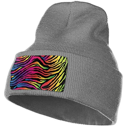 96dd9e41663 Amazon.com  Rainbow Zebra Print Winter Beanie Hat Warm Knit Cuff Toboggan  Ski Plain Skull Cap Unisex Black  Clothing
