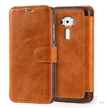 Mulbess Layered Dandy Ledertasche im Bookstyle und Kartenfach für ASUS ZenFone 3 ZE520KL 5.2 hülle Tasche Leder,Braun