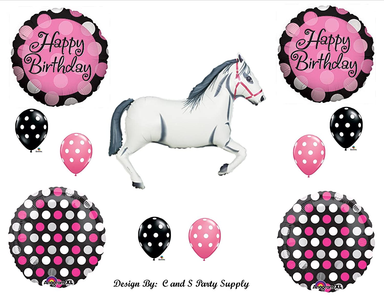 Amazon.com: White Horse Cowgirl BIRTHDAY PARTY Balloons Decorations ...