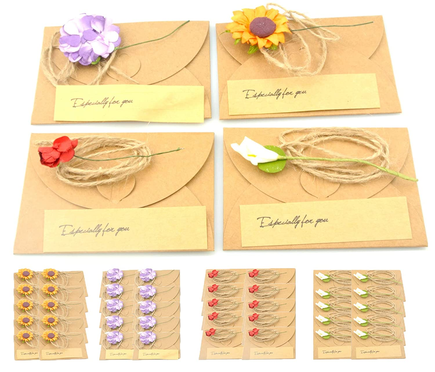 Handmade All Occasion Dried Flower Card Set
