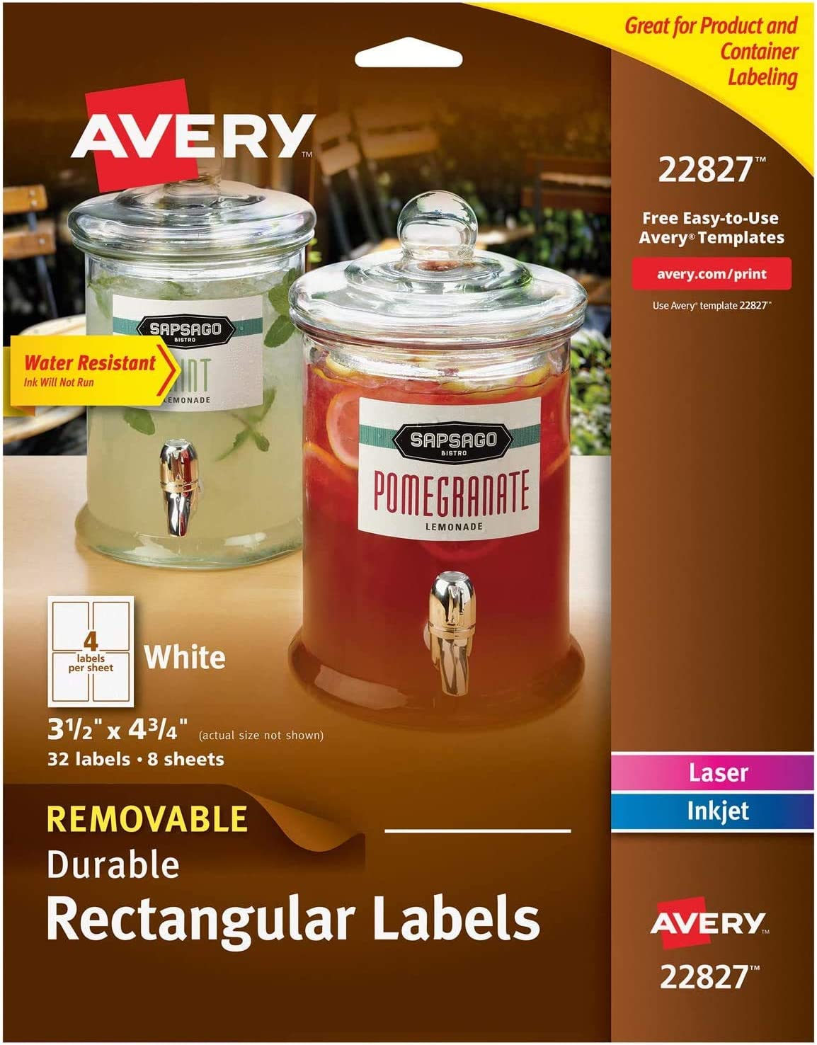 Pack of 2 Avery Removable Labels with Sure Feed for Laser /& Inkjet Printers 22827 32 Labels 3.5 x 4.75