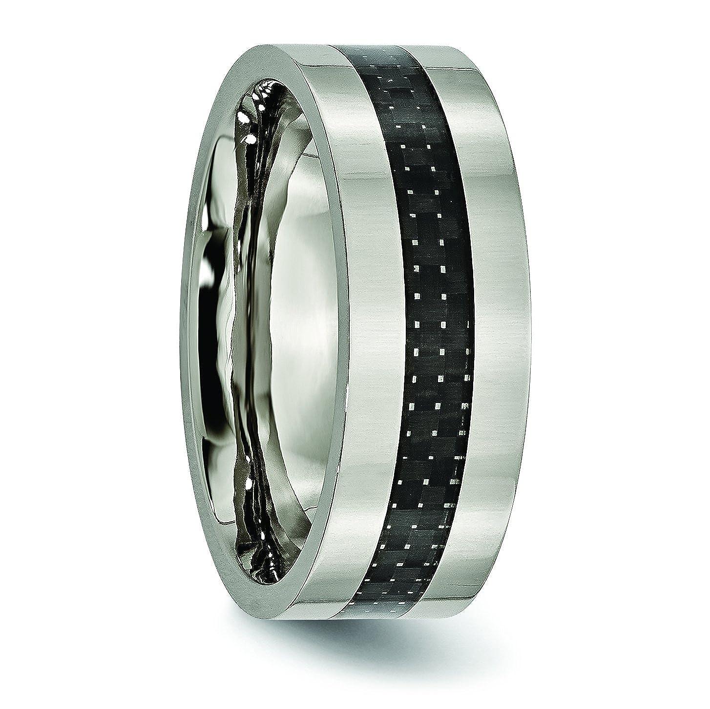 Jewelry Pot Titanium Carbon Fiber Flat 8mm Polished Engravable Band