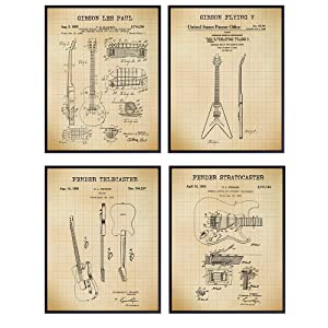 Famous Guitar Patent Art Prints - Vintage Wall Art Poster Set - Chic Home Decor for Bedroom, Living Room, Dorm, Man Cave - Great Gift for Musicians, Gibson, Fender Guitar Fans- 8x10 Photos - Unframed