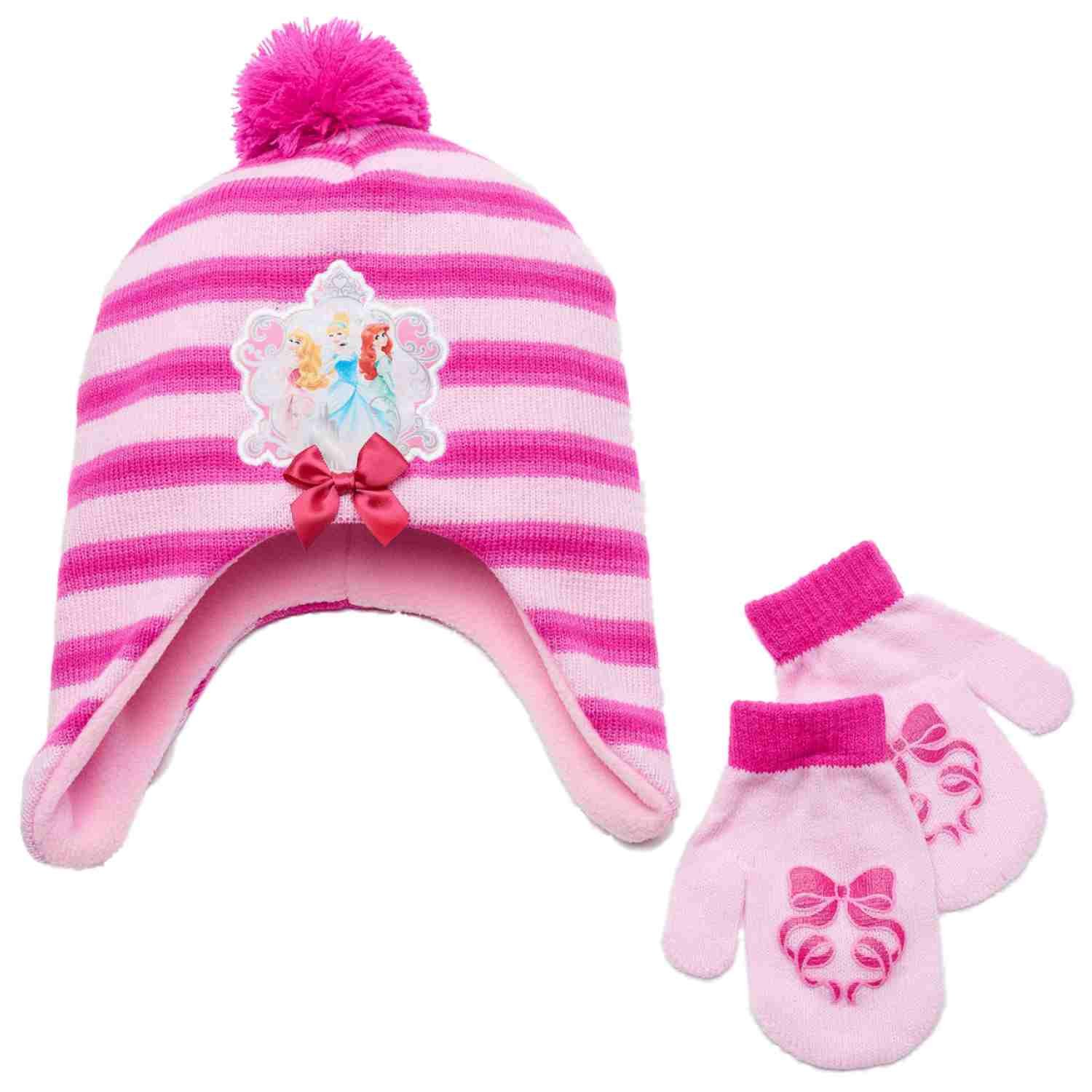 Disney Princess Toddler Girls Pink Striped Trapper Peruvian Hat & Mittens Set