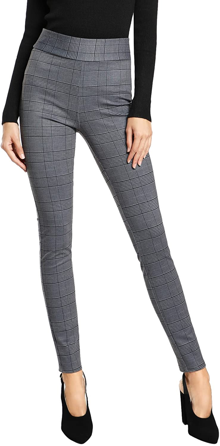 SweatyRocks Women's Casual Plaid Leggings Stretchy Work Pants