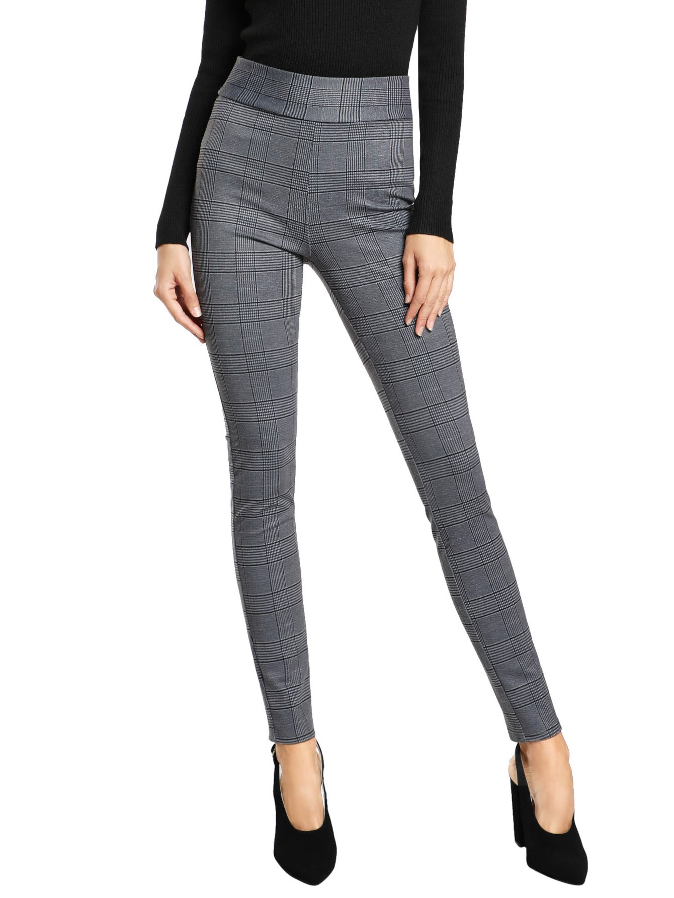 SweatyRocks Women's Casual High Waisted Ankle Plaid Pants Skinny Leggings, Grey #1, L
