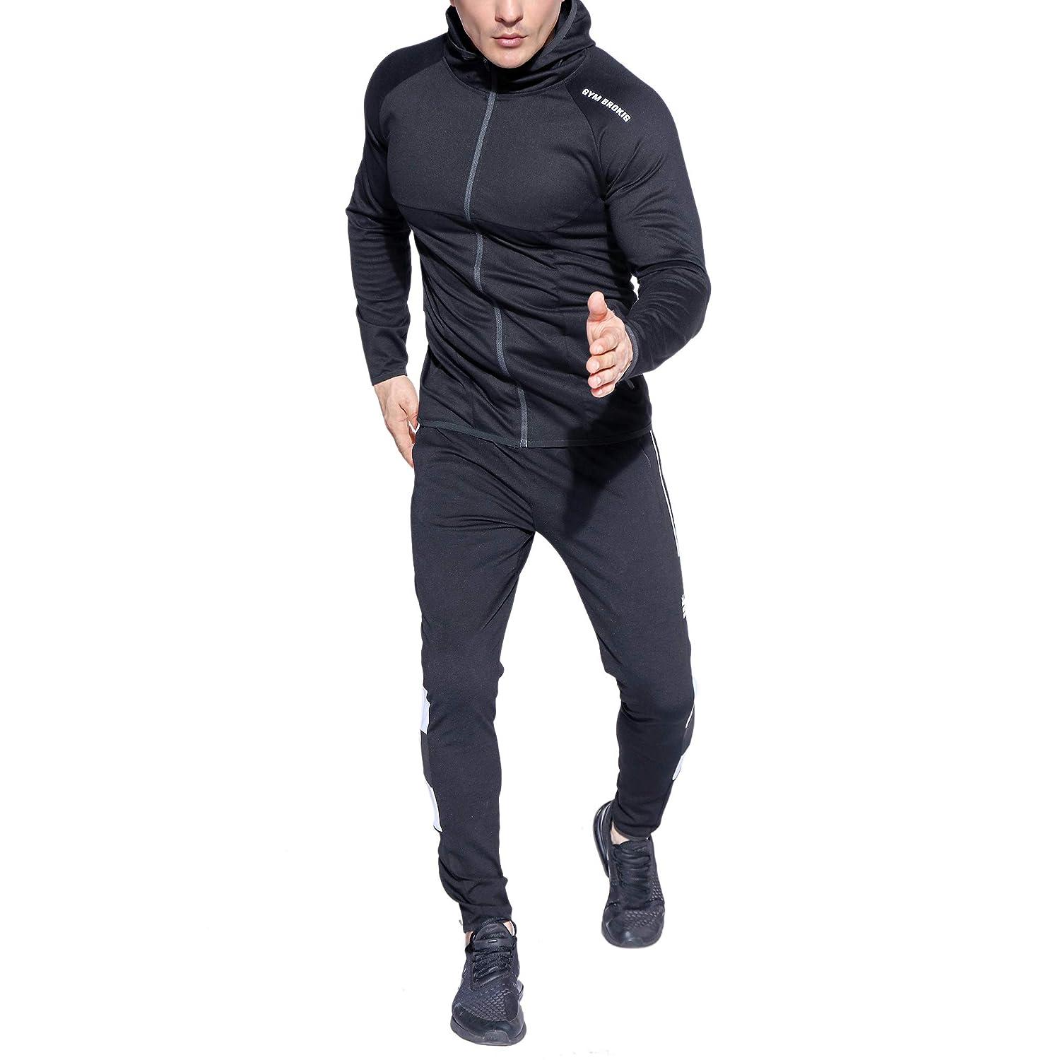 BROKIG Mens Full-Zip Athletic Hoodies,Workout Training Sport Muscle Sweatshirt