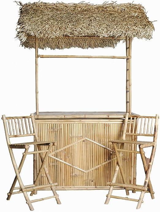 Barra de bambú con techo de paja y dos taburetes de bar Set: Amazon.es: Jardín