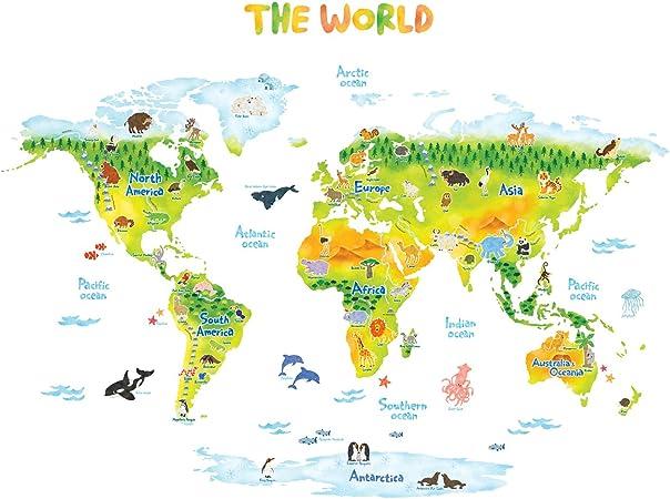 DECOWALL DLT-1715 Geológico Mapamundi Animales Vinilo Pegatinas Decorativas Adhesiva Pared Dormitorio Salón Guardería Habitación Infantiles Niños Bebés (Extra Grande) (English Ver.): Amazon.es: Hogar