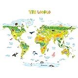 Decowall DLT-1715 Geologica Mappa del Mondo Animali Adesivi da Parete Decorazioni Parete Stickers Murali Soggiorno Asilo Nido Camera da Letto per Bambini (Extra Grande) (Ver. Inglese)