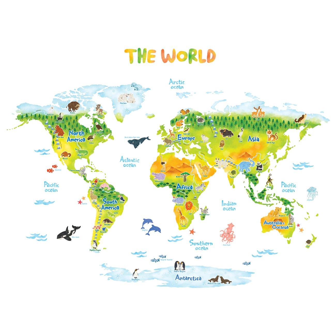 Decowall DMT-1715S Carte du monde Géologique Animaux Autocollants Muraux Mural Stickers Chambre Enfants Bébé Garderie Salon (Grand)