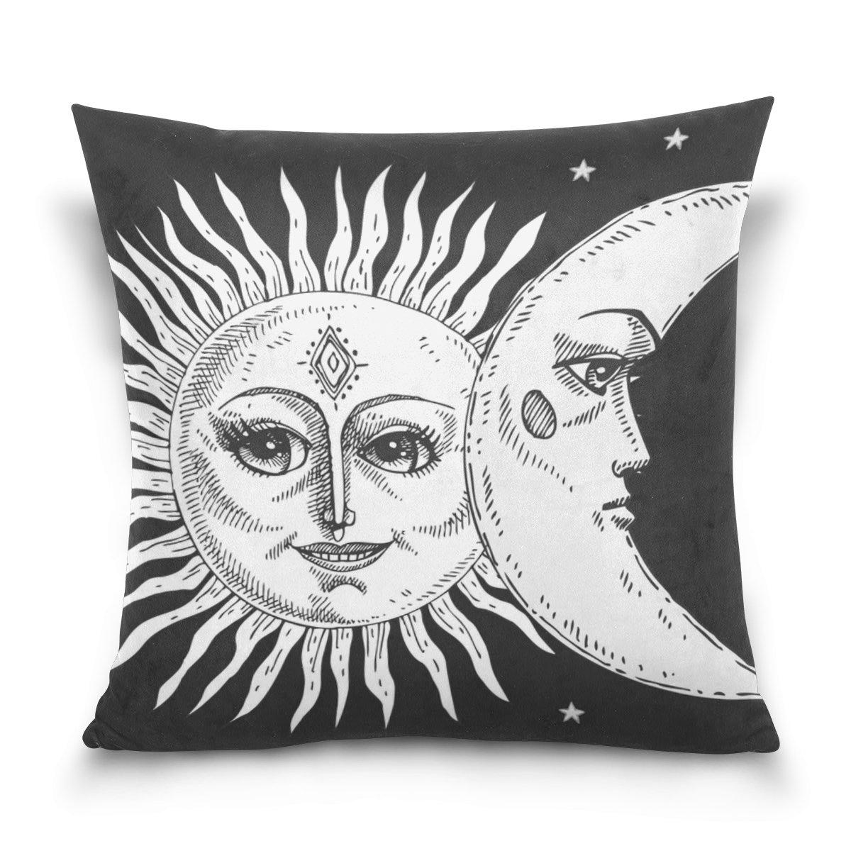 Amazon.com: La Random Throw Pillow Covers Moon Sun Face Soft ...