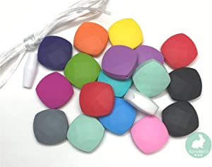 Quadrate Beads - Silicone Beads by Blue Rabbit Co - Adult Jewelry Making Kit, Necklaces, Bracelets - Adult Crafts Bead Supplies, Includes Clasp and Nylon Rope (20PC)