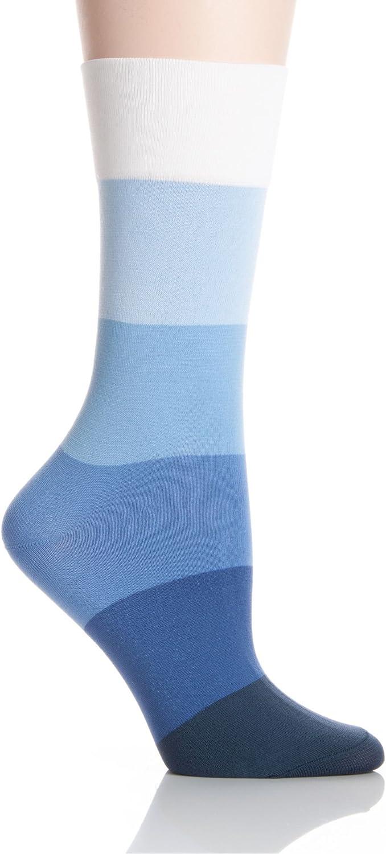 Hue Women's Ultrasmooth Socks, Marine Blue Ombre Stripe, Medium