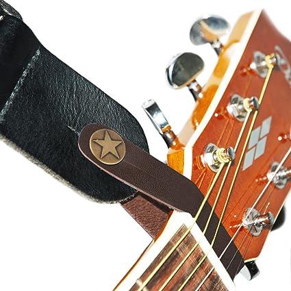 Correa de piel con gancho para guitarra acústica, marrón: Amazon ...