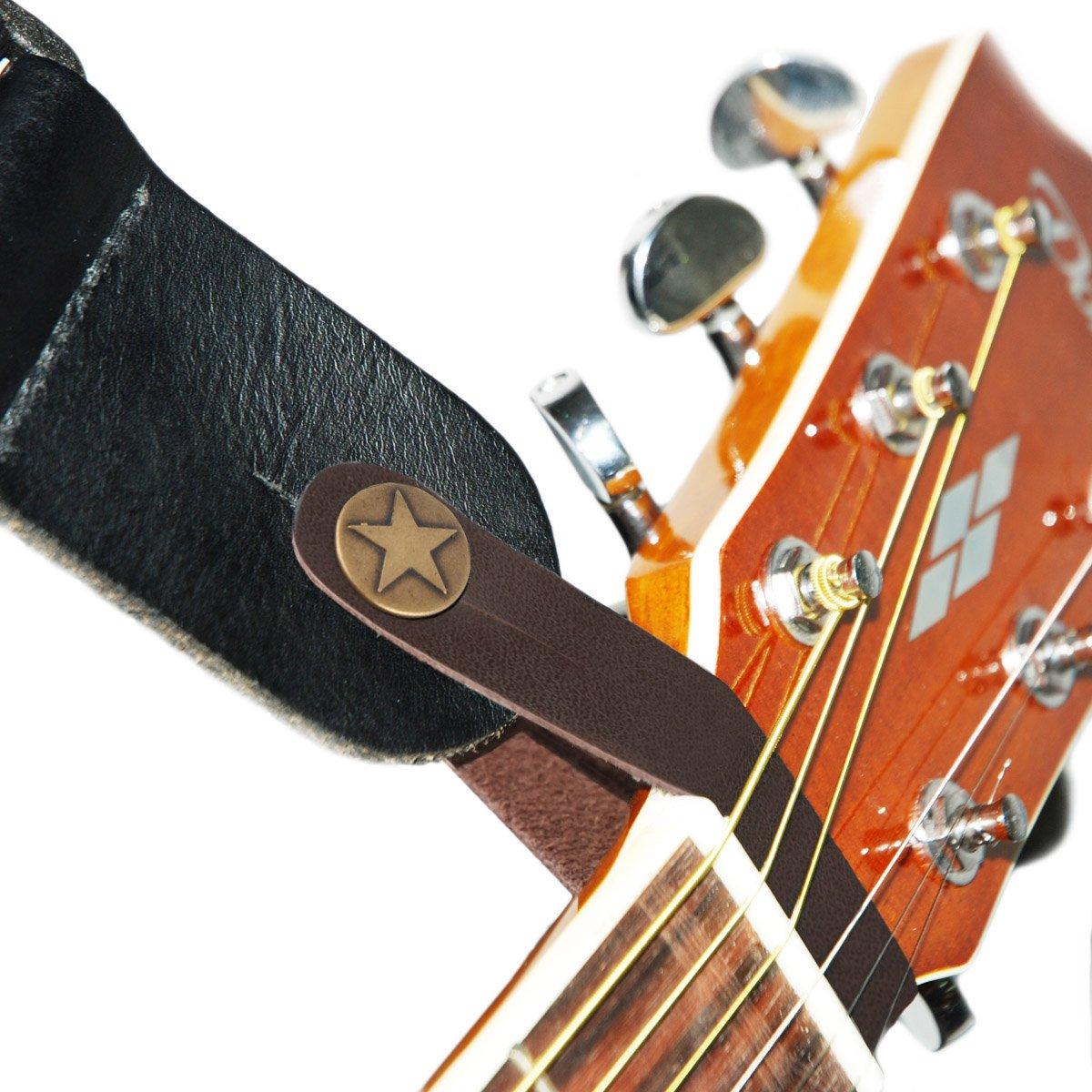 Correa de piel con gancho para guitarra acústica, marrón product image