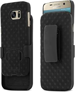 Galaxy S7 Case, Aduro Shell & Holster Combo Case Super Slim Shell Case w/Built-in Kickstand + Swivel Belt Clip Holster for Samsung Galaxy S7