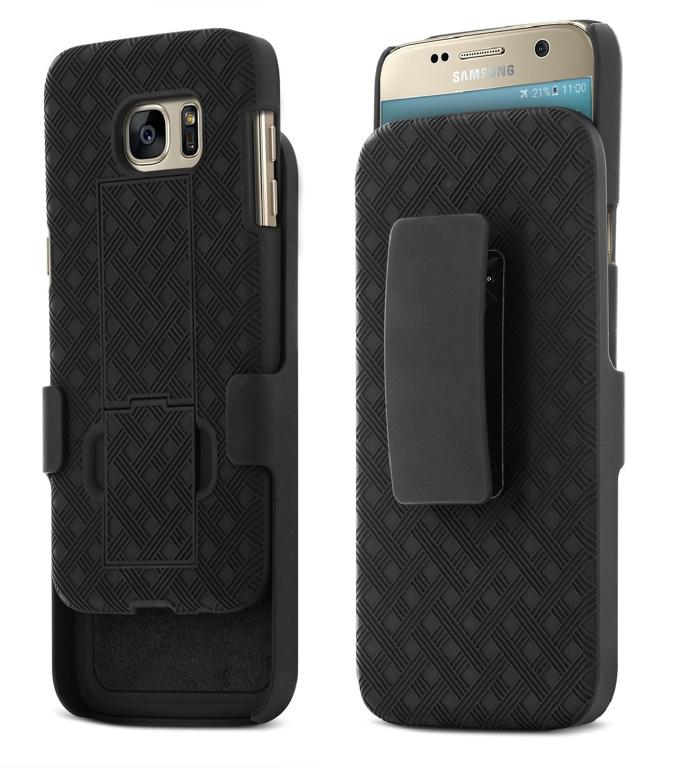 Galaxy S7 Case, Aduro Shell & Holster COMBO Case Super Slim Shell Case w/Built-In Kickstand + Swivel Belt Clip Holster for Samsung Galaxy S7 by Aduro (Image #1)