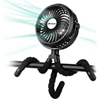 Battery Operated Stroller Fan Flexible Tripod Clip On Fan with 3 Speeds and Rotatable Handheld Personal Fan for Car Seat…