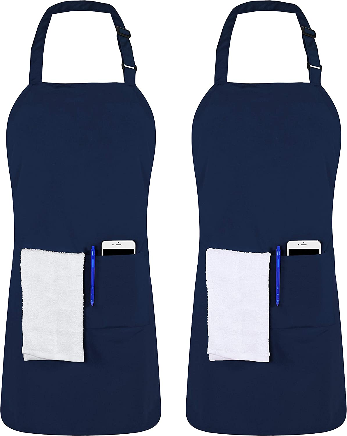 Utopia Kitchen 2 Pack Adjustable Bib Apron with 2 Pockets, 32 x 28 Inches