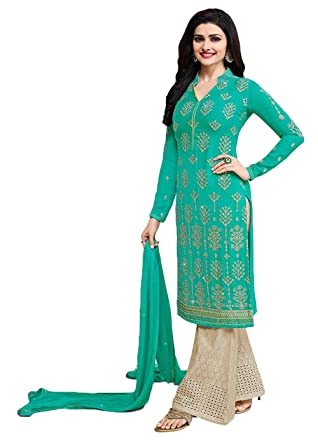 61ca640cda Designer Desk Women's V Neck Designer Georgette Embroidered Semi Stitched  Straight Salwar Suit with Palazzo- Turquoise: Amazon.in: Clothing &  Accessories