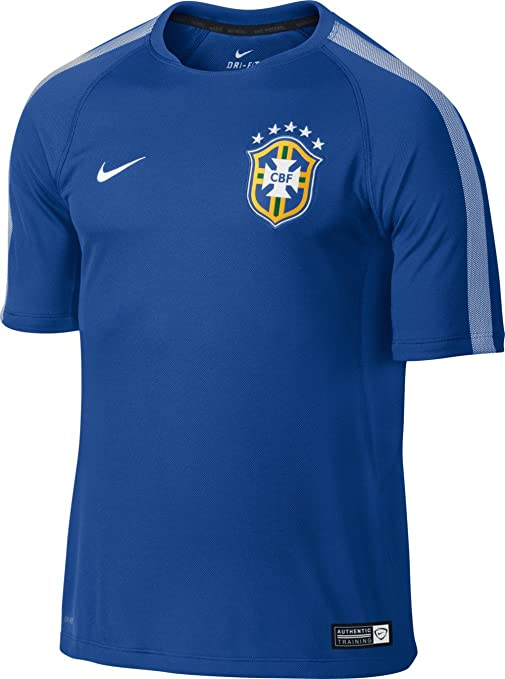 280e0e91096 Image Unavailable. Image not available for. Color  Nike 2014-15 Brazil Training  Football Soccer T-Shirt Jersey (Blue)
