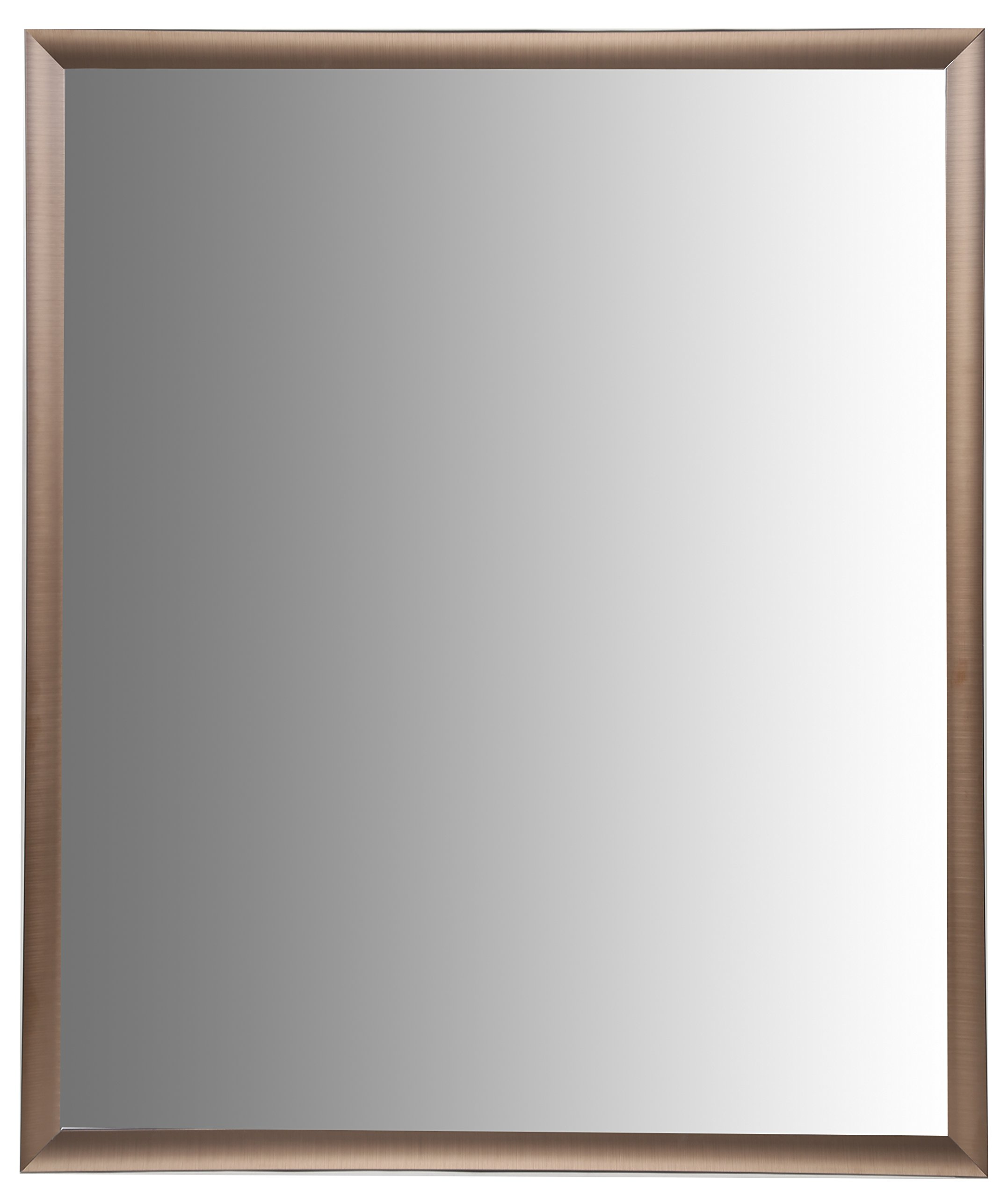 Nielsen Bainbridge 24x30 Rectangular Aluminum Wall Mirror | Vanity Mirror, Bedroom or Bathroom | Hangs Horizontal or Vertical | Brushed Bronze - Contemporary vanity mirror with 1 1/4 wide frame profile in a brushed bronze finish Outer dimensions measure 26.5 inches x 32.5 inches. Mirror dimensions measure 24 inches x 30 inches Mirror includes ready-to-hang durable hangers on the back for vertical or horizontal hanging options - bathroom-mirrors, bathroom-accessories, bathroom - 71tk3HYJb3L -