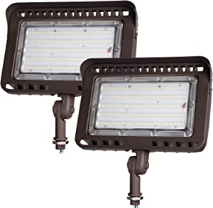 LEONLITE LED Outdoor Flood Light with Knuckle, 100W (1000W Eqv.) 11,000lm Super Bright, ETL Listed Wall Washer Security Light, CRI90+, IP65 Waterproof, 5000K for Yard/Parking Lot, Pack of 2