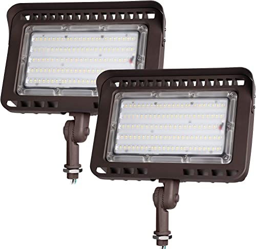 LEONLITE LED Knuckle Mount Flood Light, CRI 90 , 100W 1000W Eqv. , IP65, ETL Listed, 5000K Daylight, Backyard, Parking Lot, Pack of 2