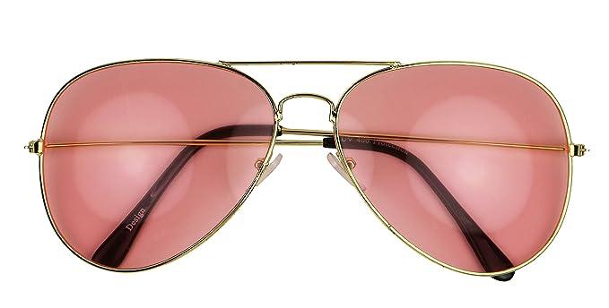 42fb7e3497 ShadyVEU - Pink Thin Metal Frame Color Tinted Lens Teardrop Aviator  Sunglasses (Gold Frame