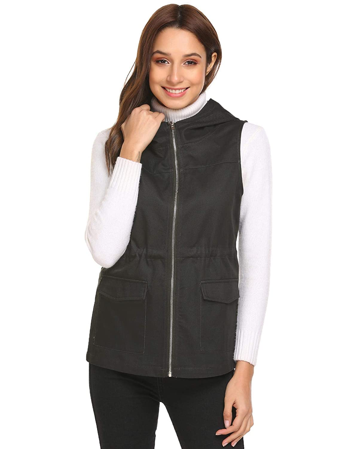 Nessere Women Casual Hooded Zip Up Solid Loose Vest Coat with Drawstring Down