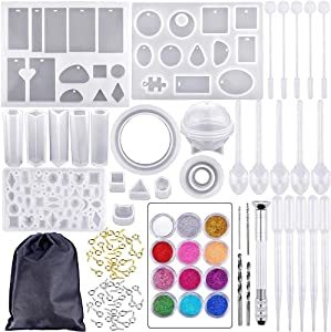 Resin Casting Alphabet Mold,94 PCS DIY Jewelry Silicone Casting Molds and Tools Set with A Black Storage Bag,Silicone Molds for Resin,DIY Jewelry Craft Making Set