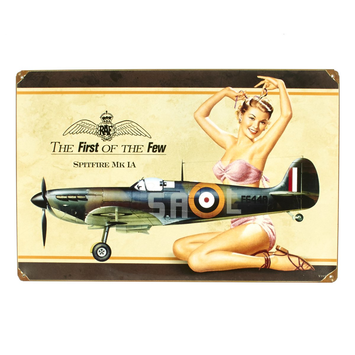 Amazon.com: British WW2 Vintage Metal Sign Spitfire MkIA Pinup Girl ...