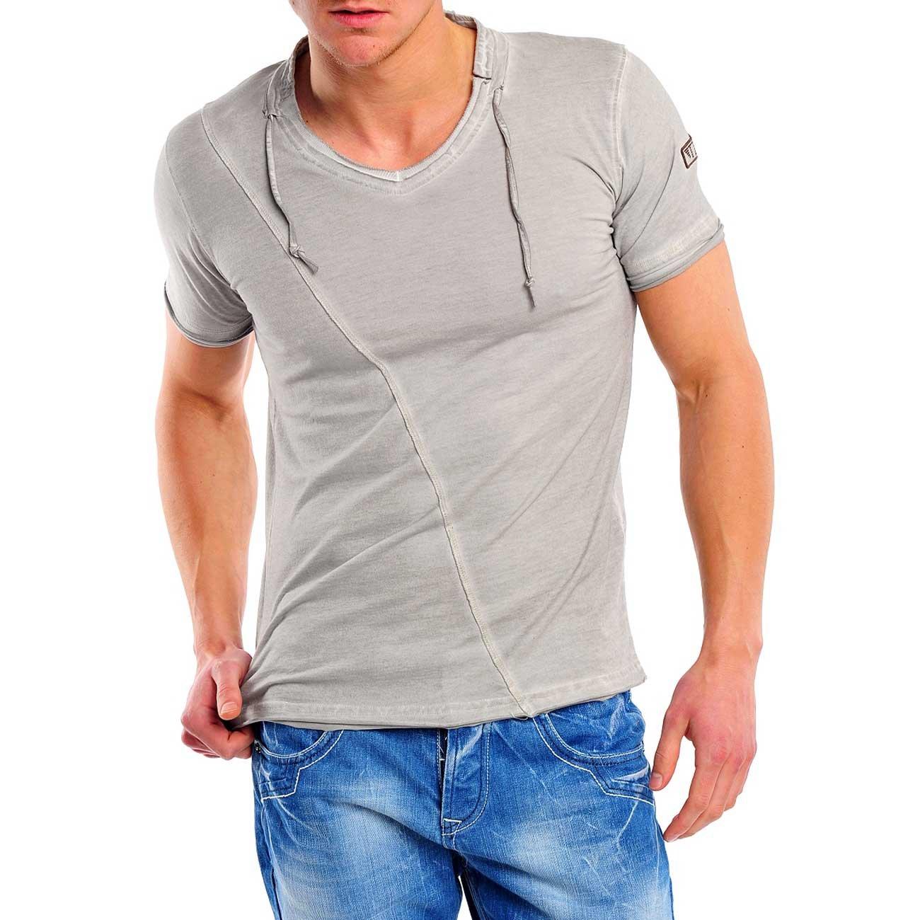 7900796bffc7 Reslad Herren Batik Style Used Look V-Neck T-Shirt 4019 Grau S  Amazon.de   Bekleidung