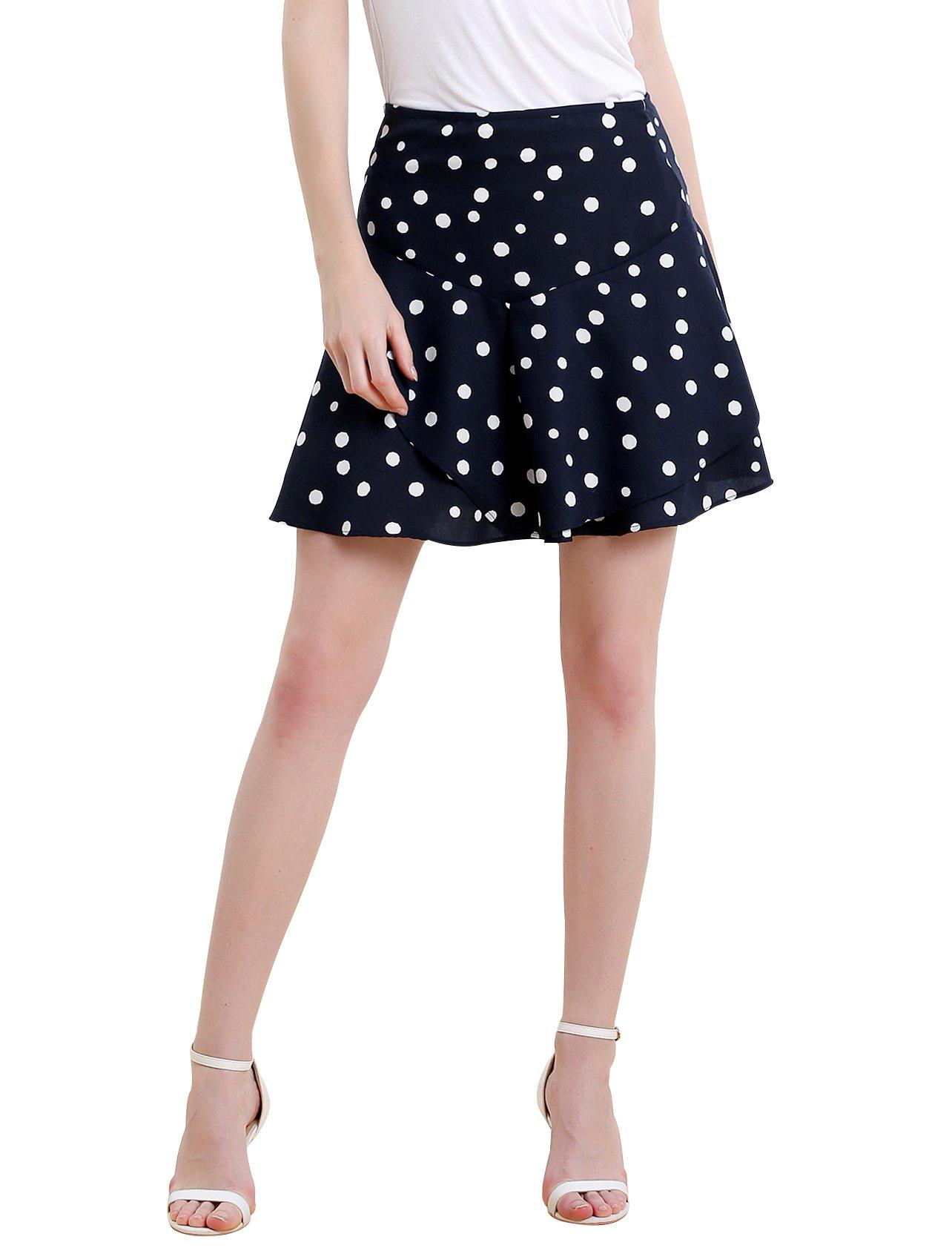 Vero Viva Women Summer Dot Printed Mini Skirt Ruffled Asymmetrical A-line Skirt Zipper S