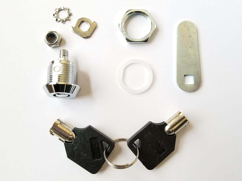 Pack of 1 Keyed Alike Tubular Cam Lock with 5//8 Cylinder and Chrome Finish