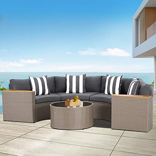 Patiomore 5-Piece Outdoor Sectional Half-Moon Conversation Set All Weather Grey Wicker Sectional Sofa