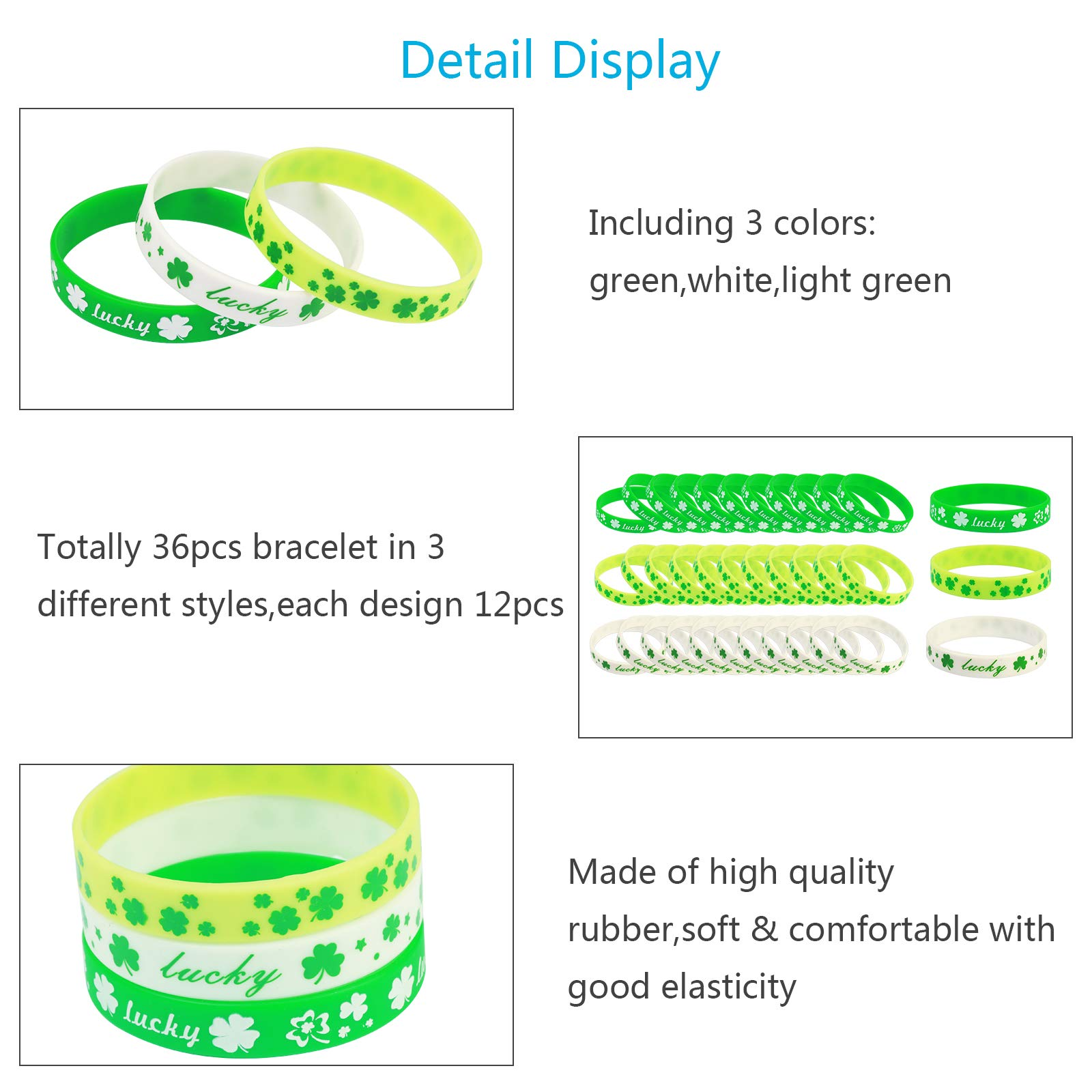 ZERHOK St Patrick\'s Day Shamrock Bracelets, 36pcs Clover Wristbands Silicone Bracelet Sets in 3 for Irish Day Party Favor Supplies Decorations