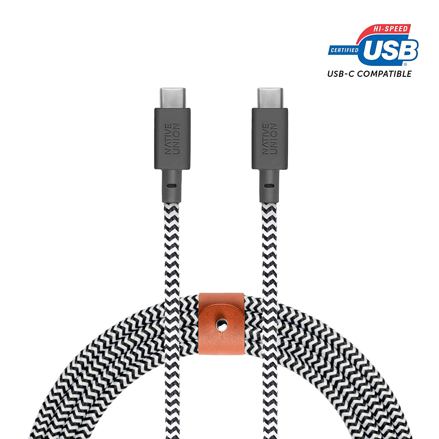 Note10+ S20+ Google Pixel 4 A20s S20 Zebra A71 8ft Ultra-Strong Cable with Leather Strap for Samsung Galaxy Z Flip S20 Ultra Native Union Belt Cable USB-C to USB-C