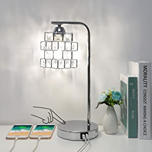 Crystal Touch Control Table Lamp with Dual USB Ports, 3 Way Dimmable Bedside Touch Lamp USB Side Table Lamp with Magic Cube Shade Modern Nightstand Lamp for Living Room Office, 4W LED Bulb Included