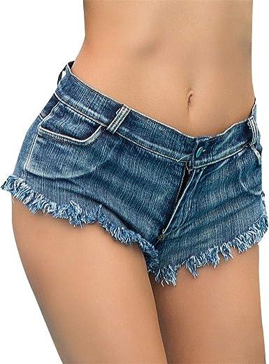 HeMiaoDD Pantalones Cortos Jeans Mujeres, algodón botón de Cintura ...