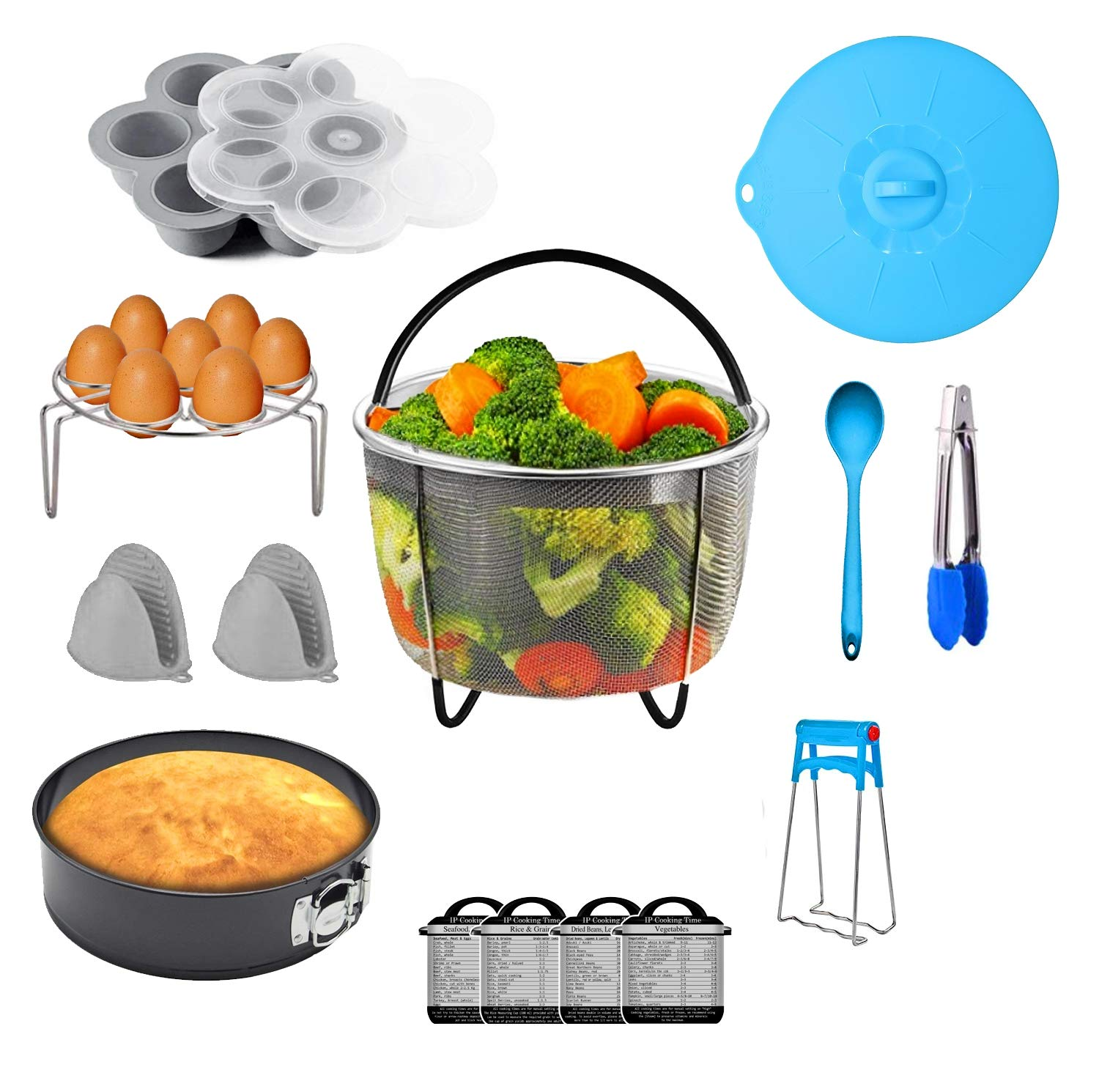 Instant Pot Accessories 15 Pcs Set - Compatible with Instant Pot 5,6,8 QT - Electric Pressure Cooker Value Pack With Steamer Basket, Egg Rack, Springform Pan, Egg Silicone Mold, Oven Mitts, and More